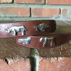 Brighton honest vintage safari belt in cognac S
